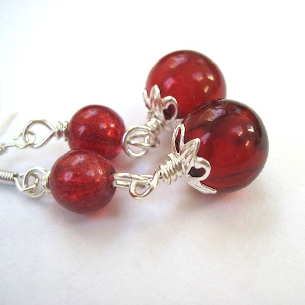 Cranberry Red & Silver Holiday Earrings