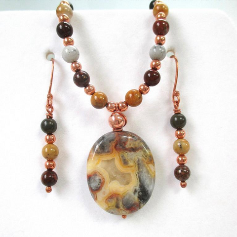 Earth Tone Gemstone Jewelry Set, Yellow & Gray Pendant Necklace, Mixed Stone Earrings