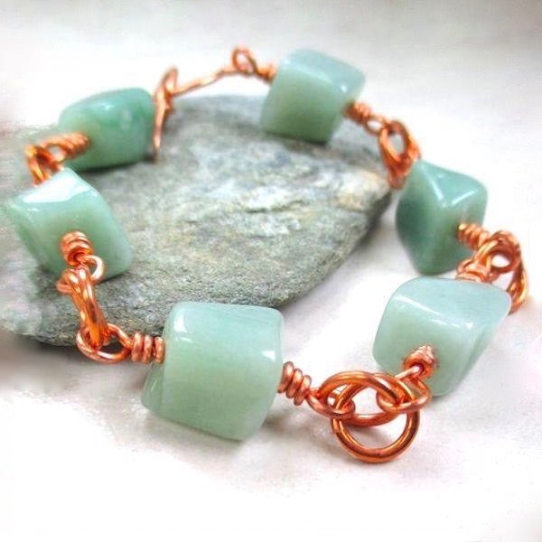 Green Gemstone Chunky Bracelet, Aventurine Stone, Copper Toggle Clasp