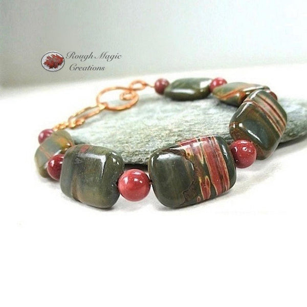 Forest Green and Brick Red Jasper Gemstone Bracelet