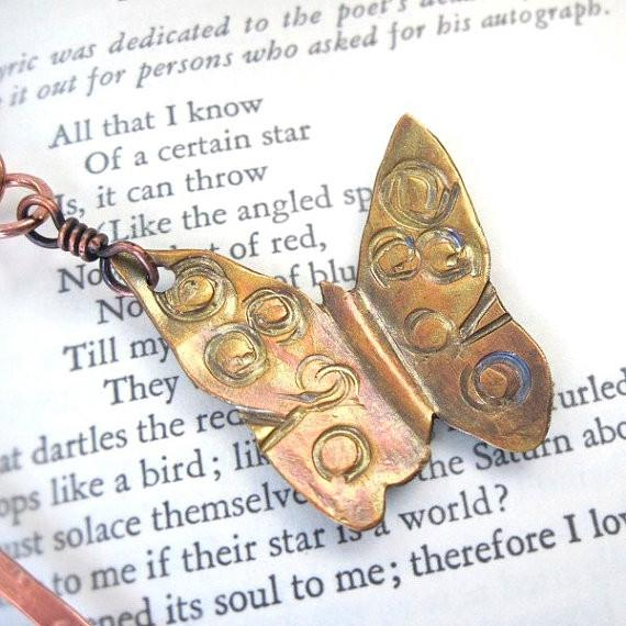Butterfly Bookmark Hand Painted Copper