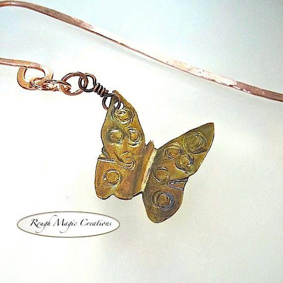 Butterfly Bookmark Hand Painted Copper Eco Friendly Rustic Metal