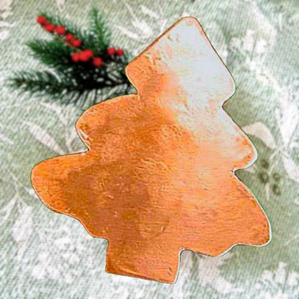 Rustic Copper Christmas Tree Brooch, hand forged metal holiday jewelry for women.