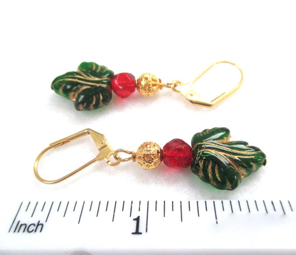 Holly and Ivy Christmas Holiday Earrings Green Leaves, Red & Gold Beads