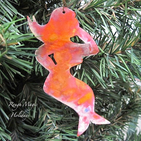 Ethel Mermaid Souvenir Christmas Ornament, Rustic Copper, Nautical Beach Cottage Decor, Made in Maine Holiday Decoration, Man Cave Gift Idea