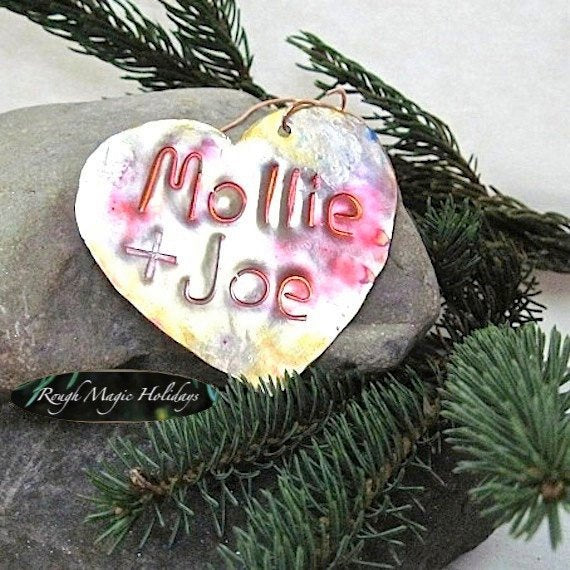 Personalized Heart Copper Ornament Romantic Christmas Decor