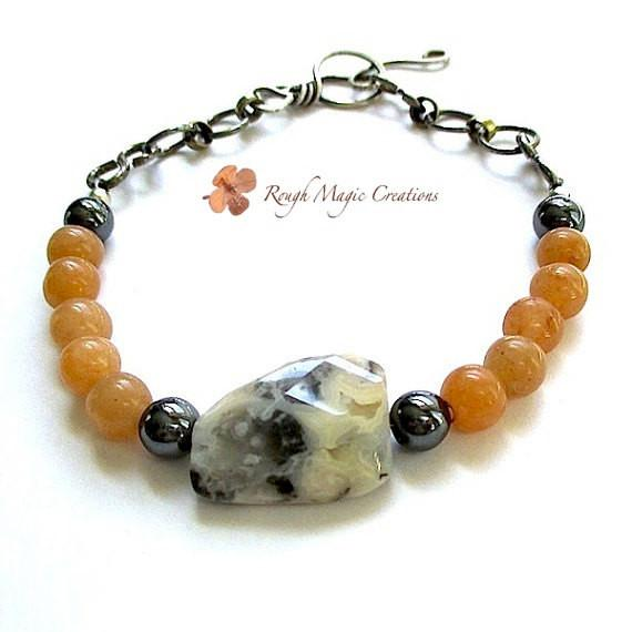 Eclectic Boho Bracelet, Orange Gray Black Gemstones, Antiqued Sterling Silver