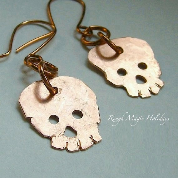 Halloween Earrings, Hand Forged Copper Skulls