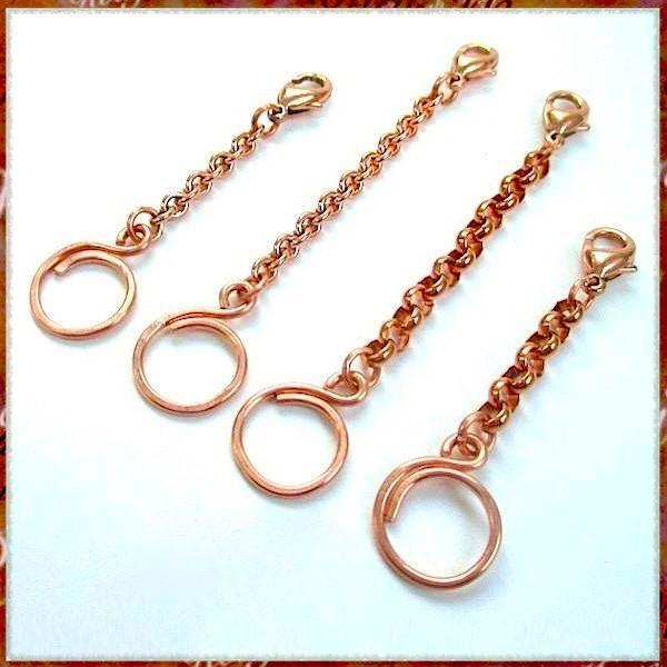 Solid Copper Jewelry Extenders - Cable Chains and Rolo Chains with lobster claw clasps and hand forged hammered loop keeper rings. These adjusters will add 2, 3 or 4 inches to necklaces; also work for bracelets and as accessories: key chains, belts, handbags. Handmade in Maine, USA, by Rough Magic Creations.
