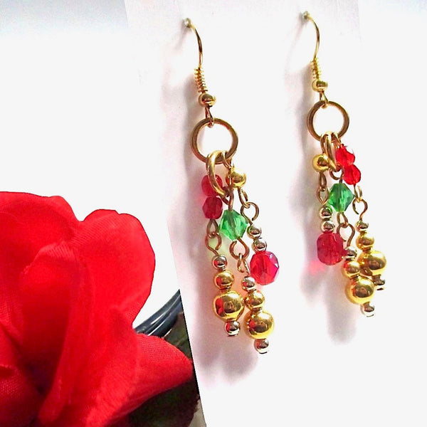 Gold Christmas Earrings with Red and Green Long Beaded Dangles