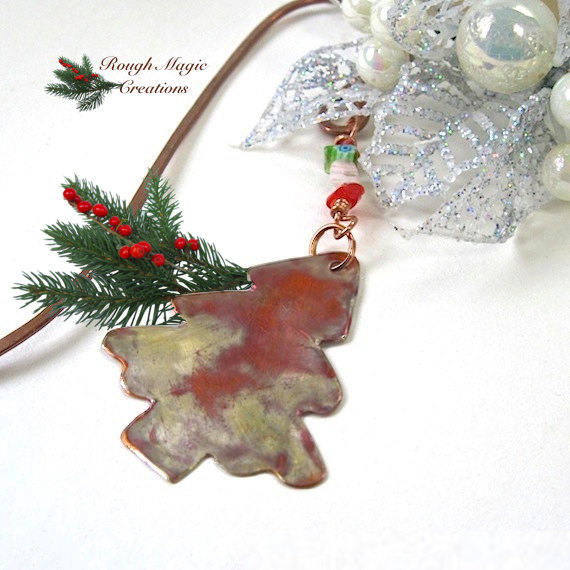 Christmas Tree Bookmark Red & Green Beads, Copper Hook