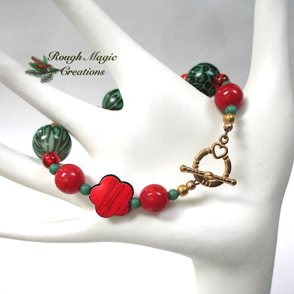 Chunky Christmas Bracelet, Red and Green Holiday Jewelry