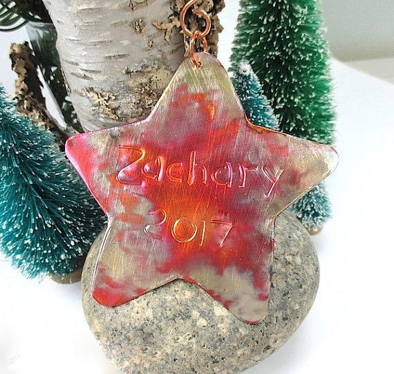 Personalized Copper Star, Artisan Christmas Ornament, Holiday Decoration, Holiday Decor, Rustic Metal, Keepsake Ornament