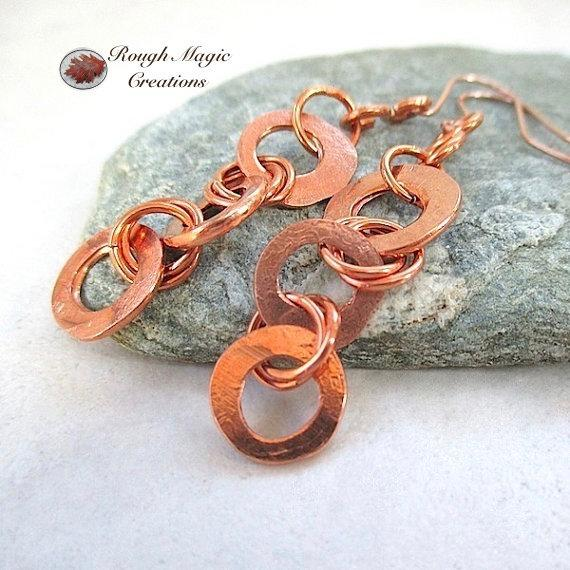 Long Copper Earrings, Rustic Shoulder Dusters with Forged Ring Dangles