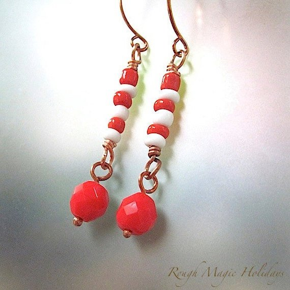 Red & White Holiday Earrings Candy Stripe Shoulder Dusters