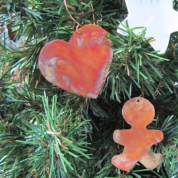 Romantic Heart Copper Christmas Ornament, 7th Anniversary Gift Present for Woman Man Couple Primitive Metal Decoration Rustic Holiday Decor