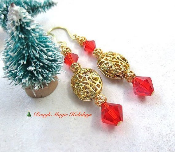Elegant Holiday Earrings, Gold & Red Christmas Jewelry