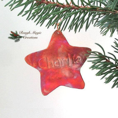 Personalized Christmas Ornament Custom Copper Star