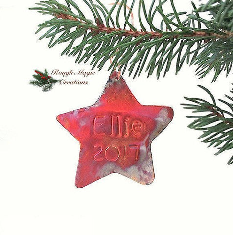 Personalized Copper, Holiday Decoration, Christmas Ornament, Rustic Christmas Star, Metal Xmas Decoration, Kids Keepsakes Holiday Decor