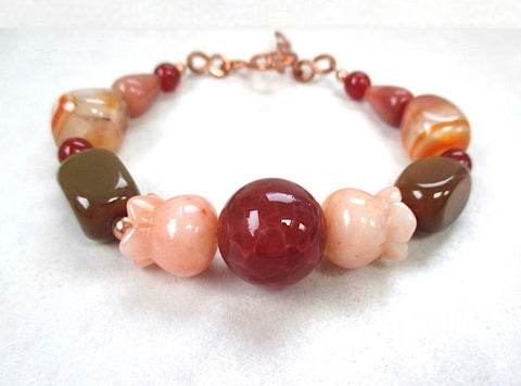 Chunky Gemstone Bracelet with Carnelian, Jasper, Agate and Copper