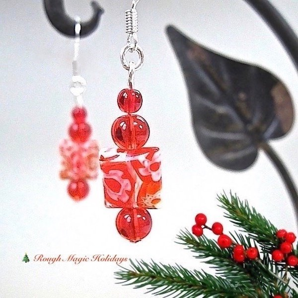 Red Holiday Earrings, Christmas Jewelry, Colorful Millefiori Dangles, Silver Hook Ear Wires E357