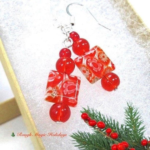 Red Millefiori Earrings Silver Hook Ear Wires