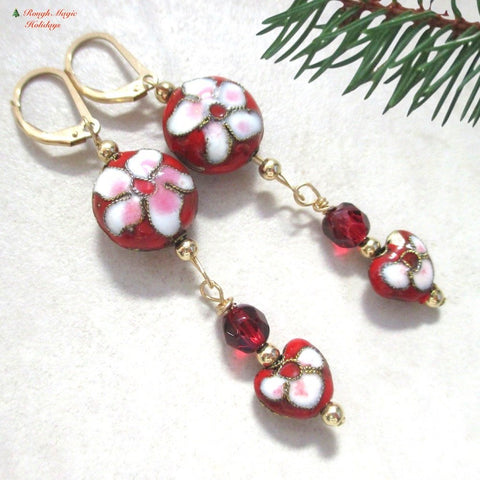 Red Cloisonné Floral Earrings, Valentines, Christmas Flowers Shoulder Dusters