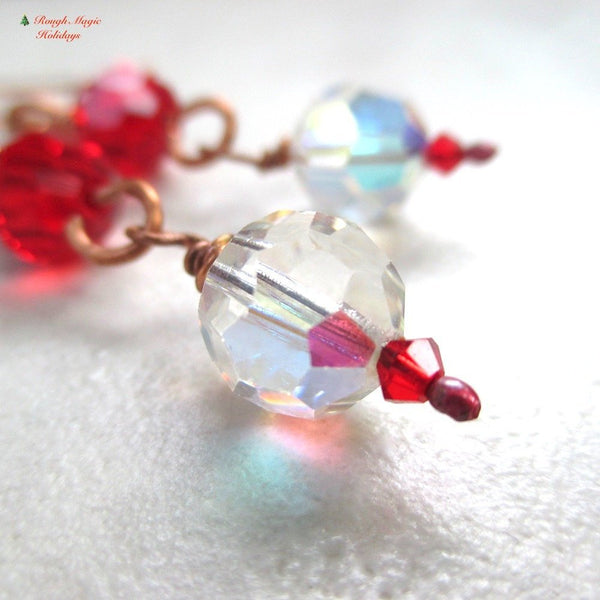 Elegant Shoulder Dusters, Holiday Earrings with Red and Clear Crystals