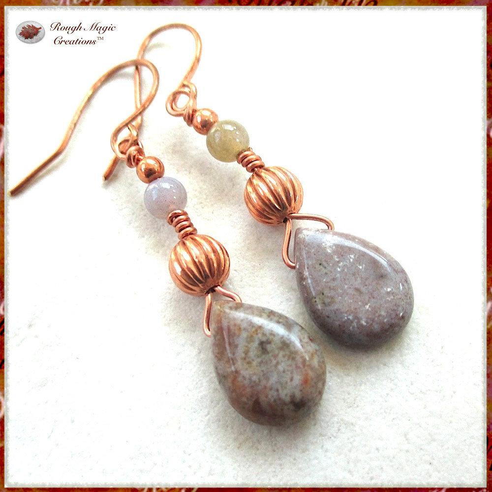 Ocean Jasper Teardrop Earrings, Earthy Gemstones and Copper