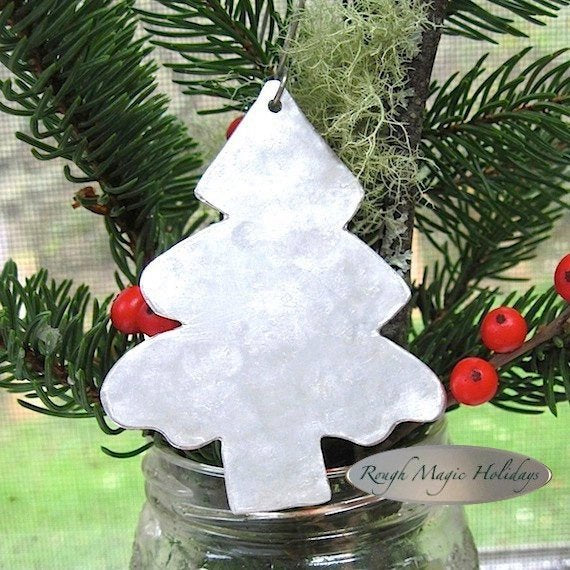 Sustainable Pine Tree Christmas Decor, Reclaimed Aluminum Ornament