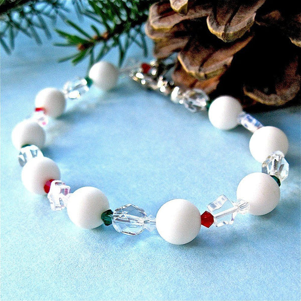 Snowballs and Stars Christmas Bracelet, Red Green White Clear, Swarovski Crystals, Celestial Cosmic Holiday Jewelry for Women & Girls B237