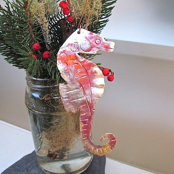 CUSTOM ORDER Copper Seahorse Christmas Ornament