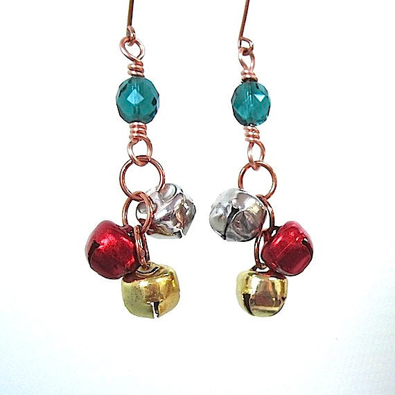 Jingle Bells Christmas Earrings Holiday Jewelry for Women Stocking Stuffers, Red Gold Silver Bells, Green Beads, Repurposed Xmas Decorations