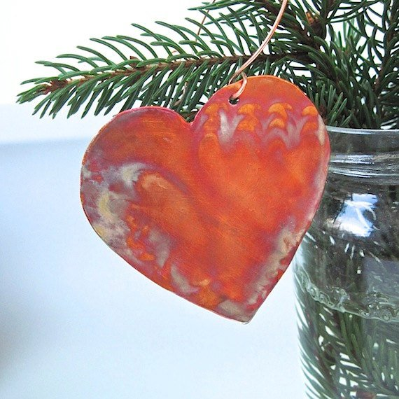 Hand Forged Copper Heart Rustic Holiday Decoration