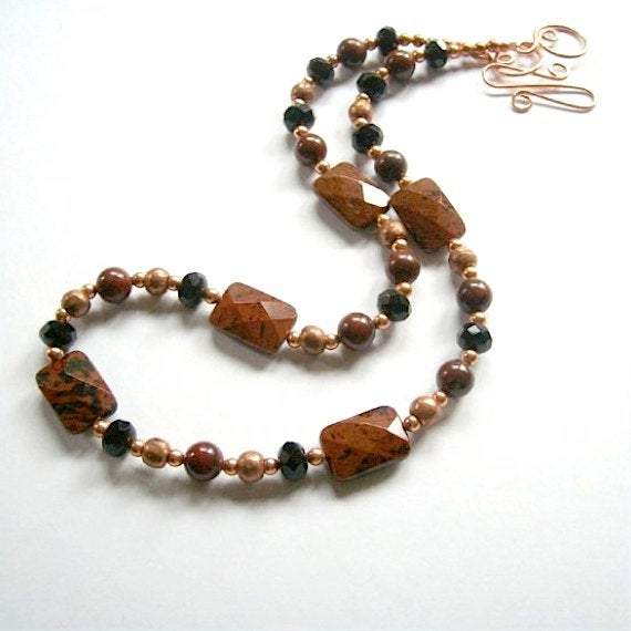 Brown & Black Gemstone Necklace with Mahogany Obsidian, Poppy Jasper