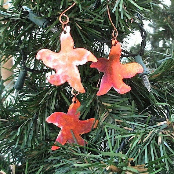 Mini Starfish Christmas Ornament Copper Set 3 Metal Star Decorations