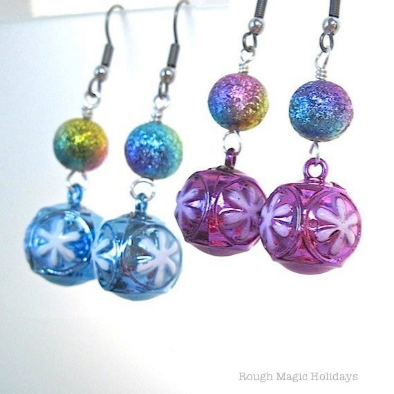 Snowflake Christmas Earrings with Pink or Blue Bauble