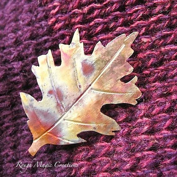 rustic Copper Brooch autumn leaves jewelrly