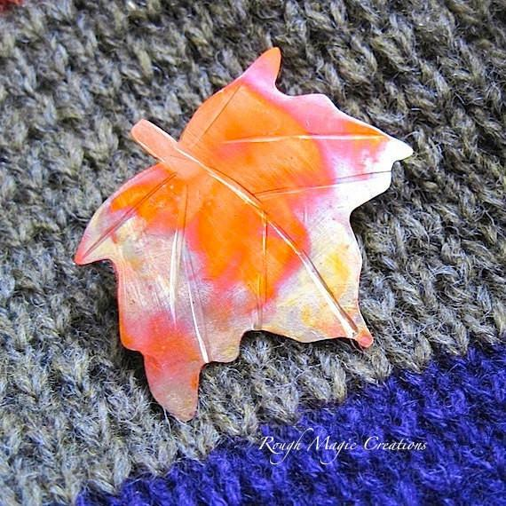 autumn leaf brooch copper