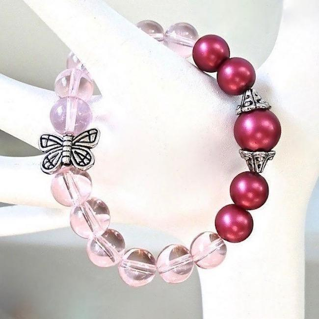 Chunky Stretch Bracelet with Hot Pink Pearls, Pastel Glass & Butterfly