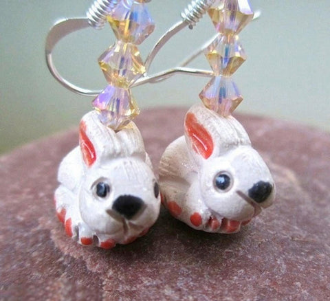 Pink Bunny Rabbit Earrings with Ceramics, Crystals & Silver