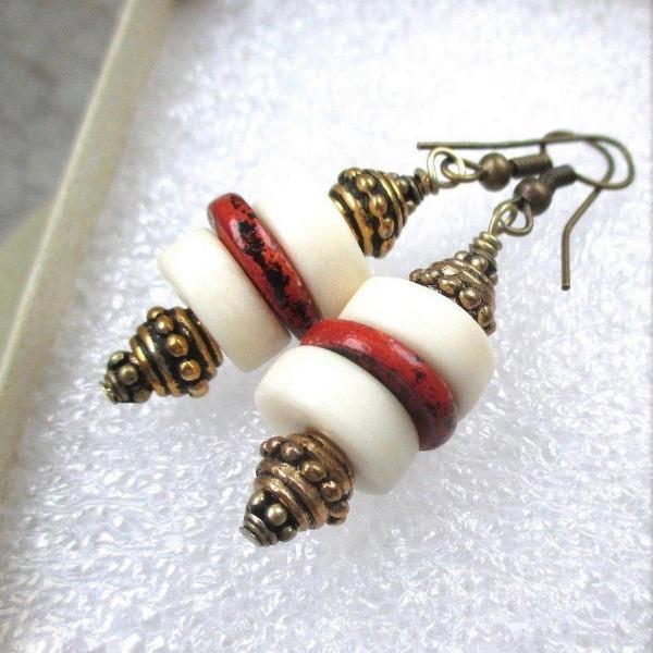 Primitive Style Boho Earrings Vintage Lucite, Earthy Red Ceramics & Brass