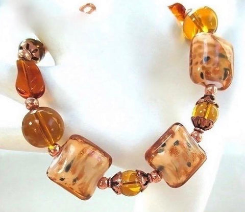 Amber Lampwork Bracelet with Glass and Copper Accents