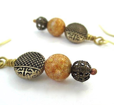 Antique Brass and Gold Glass Earrings