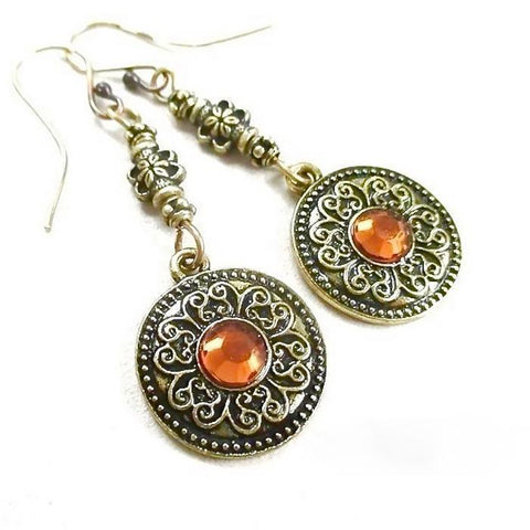 Antique Brass Renaissance Long Earrings