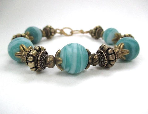 Aqua Turquoise Bracelet, Lampwork Glass Beads, Antique Brass