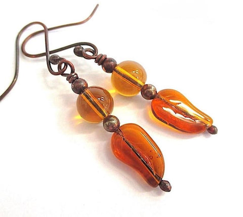 Autumn Leaves Earrings with Amber Glass Dangles