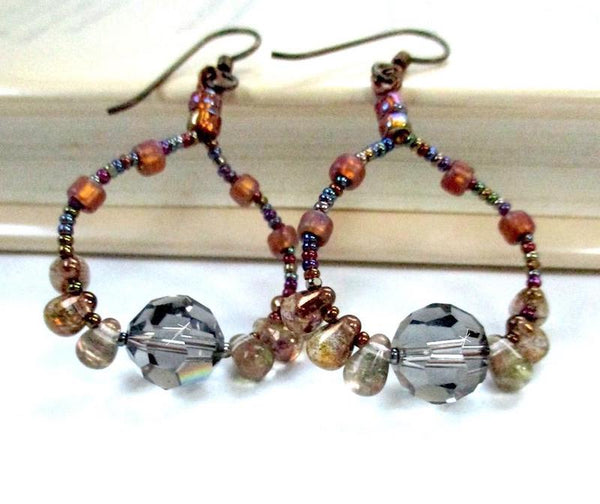 Beaded Drop Earrings, Black Diamond Crystal, Topaz and Copper Czech Glass, Niobium Earwires