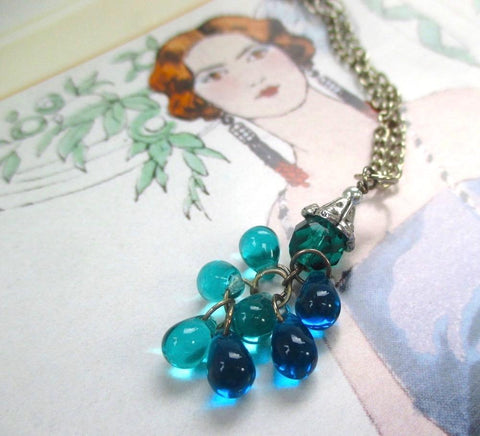 Blue and Aqua Cluster Pendant on Silver Chain Necklace