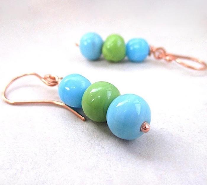Blue and Green Dangle Earrings with Ceramic Beads and Copper